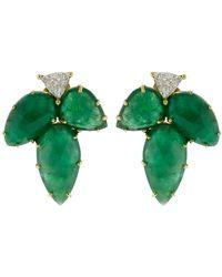 Sylva & Cie - Emerald Leaf Earrings - Lyst