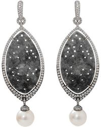 Inbar - Carved Grey Jade And Pearl Earrings - Lyst