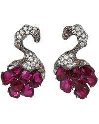 Arunashi - Ruby Swan Earrings - Lyst