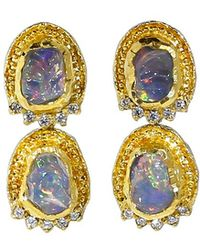Victor Velyan - Fire Opal And Diamond Earrings - Lyst