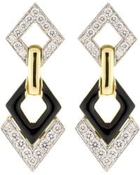 David Webb - Double Diamond And Black Enamel Earrings - Lyst