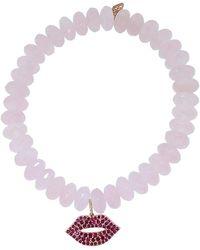 Sydney Evan - Ruby Lips Rose Quartz Rondelle Beaded Bracelet - Lyst