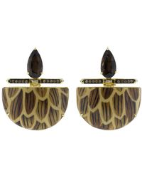 Silvia Furmanovich - Marquetry Brown Demi Lune Earrings - Lyst