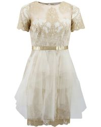Notte by Marchesa - Metallic Lace Dress - Lyst