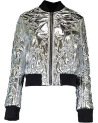 MSGM - Silver Star Bomber Jacket - Lyst