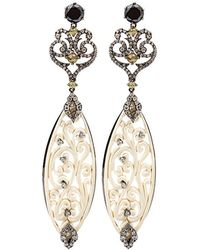 Bochic | Carved Mammoth Drop Earrings With Diamonds | Lyst