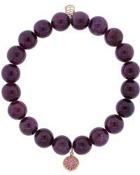 Sydney Evan - Pink Sapphire Pade Disc Charm Bracelet - Lyst