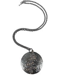 Annie Fensterstock - Diamond And Sapphire Luna Pendant Necklace - Lyst
