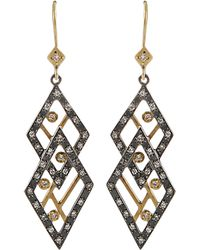 Annie Fensterstock - Double Diamond Earrings - Lyst