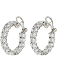 Fantasia Jewelry - Oval Inside Out Cubic Zirconia Hoops - Lyst