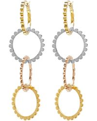 Nancy Newberg - Four Linked Tri Gold Hoop Earrings - Lyst