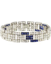 Fred Leighton - Art Deco Diamond And Sapphire Brick Bracelet - Lyst
