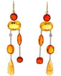aa06d5a03b805 Colette Fire Opal Stud Earrings with Diamonds in Orange - Lyst