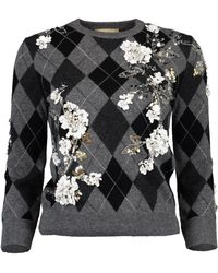 Michael Kors - Floral Embroidered Argyle Cashmere Pullover - Lyst