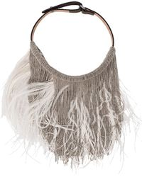 Brunello Cucinelli - Feather And Monili Bib Necklace - Lyst