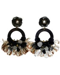 Ranjana Khan - Drop Hoop Feather Earrings - Lyst