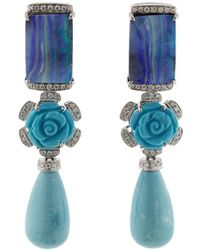 Dana Rebecca - One Of A Kind Turquoise Flower Earrings - Lyst