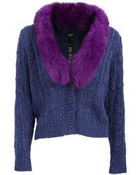 Anna Sui - Fox Trim Cable Knit Cardigan - Lyst