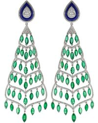 Fred Leighton - Emerald Lapis And Diamond Chandelier Earrings - Lyst