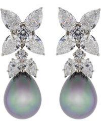 Fantasia Jewelry - Grey Pearl Drop Cubic Zirconia Flower Earrings - Lyst