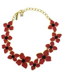 Oscar de la Renta - Painted Flower Necklace - Lyst