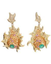 Arunashi - Emerald And Diamond Fish Earrings - Lyst