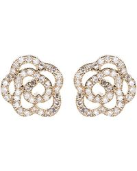 EF Collection - Diamond Rose Stud Earrings - Lyst