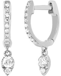 EF Collection - Diamond Teardrop Mini Huggie Earrings - Lyst