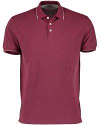Brunello Cucinelli - Single Stripe Trim Collar Polo Shirt - Lyst