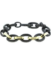 Nancy Newberg - Four Gold Link Oxidized Silver Hammered Bracelet - Lyst