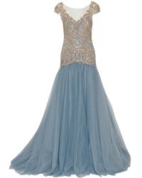 Marchesa - Drop Waist Embroidered Ball Gown - Lyst