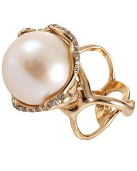 Lucifer Vir Honestus - Fresh Water Pearl And Diamond Cocktail Ring - Lyst