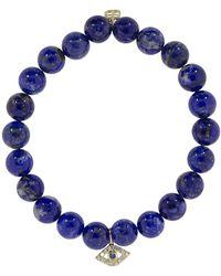 Sydney Evan - Sapphire And Diamond Evil Eye Charm Bracelet - Lyst