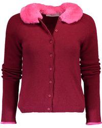 Blugirl Blumarine - Cardigan With Fur Collar - Lyst