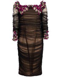 Pamella Roland - Tulle Off Shoulder Beaded Dress - Lyst