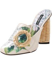 Dolce & Gabbana - Rattan Block Heel Mule - Lyst