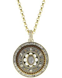 Buddha Mama - Grey Moonstone And Diamond Enamel Pendant - Lyst