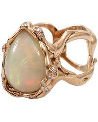Lucifer Vir Honestus Opal And Diamond Organic Ring - Pink