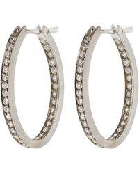 Sylva & Cie - Diamond Oval Hoop Earrings - Lyst