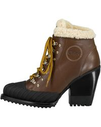 Chloé - Rylee Leather And Shearling Boots - Lyst