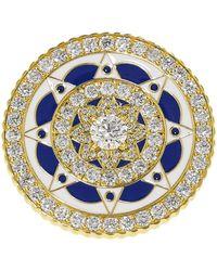 Buddha Mama - Navy And White Enamel Diamond Coin Ring - Lyst