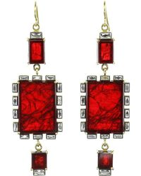 Sylva & Cie - Square Ruby Earrings - Lyst