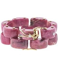 Federica Rettore - Panthere Rhodonite And Diamond Bracelet - Lyst