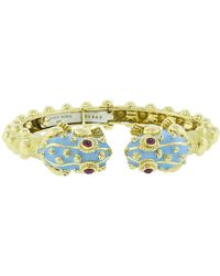 David Webb - Baby Frog Blue Enamel And Ruby Bangle - Lyst