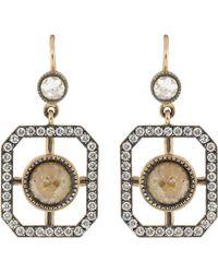 Sylva & Cie - Rough Diamond Window Earrings - Lyst