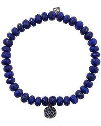 Sydney Evan - Sapphire Disc Lapis Beaded Bracelet - Lyst