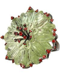 Bochic - Green Amethyst Kiwi Flower Ring - Lyst
