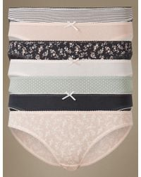 Marks & Spencer - 7 Pack Cotton Rich Bikini Knickers - Lyst