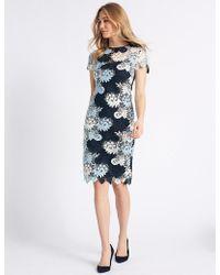 Marks & Spencer - Swirl Lace Short Sleeve Bodycon Dress - Lyst