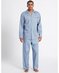 Marks & Spencer - Pure Cotton Triped Pyjaa - Lyst